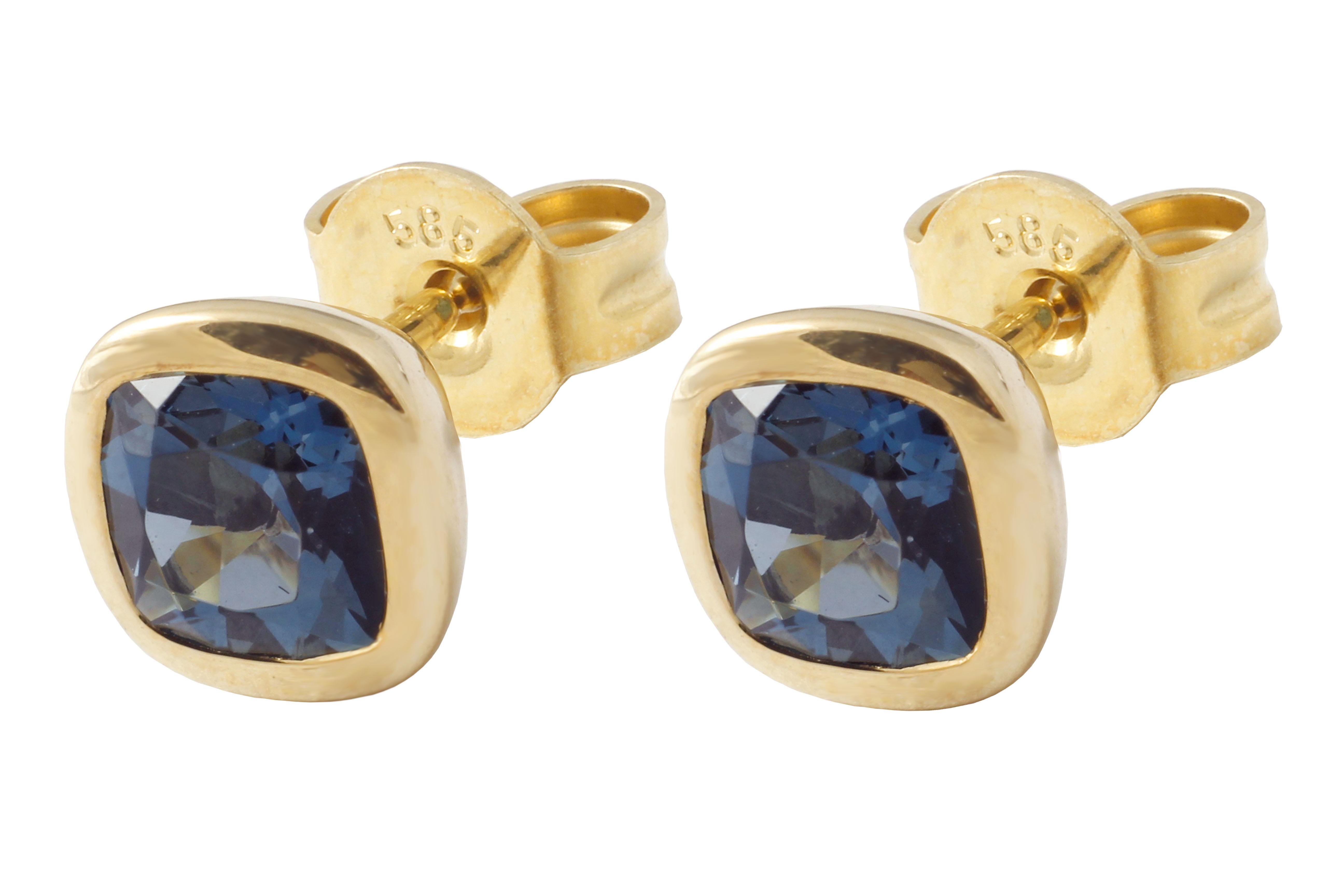 Kolczyki złote z topazami(London Blue)
