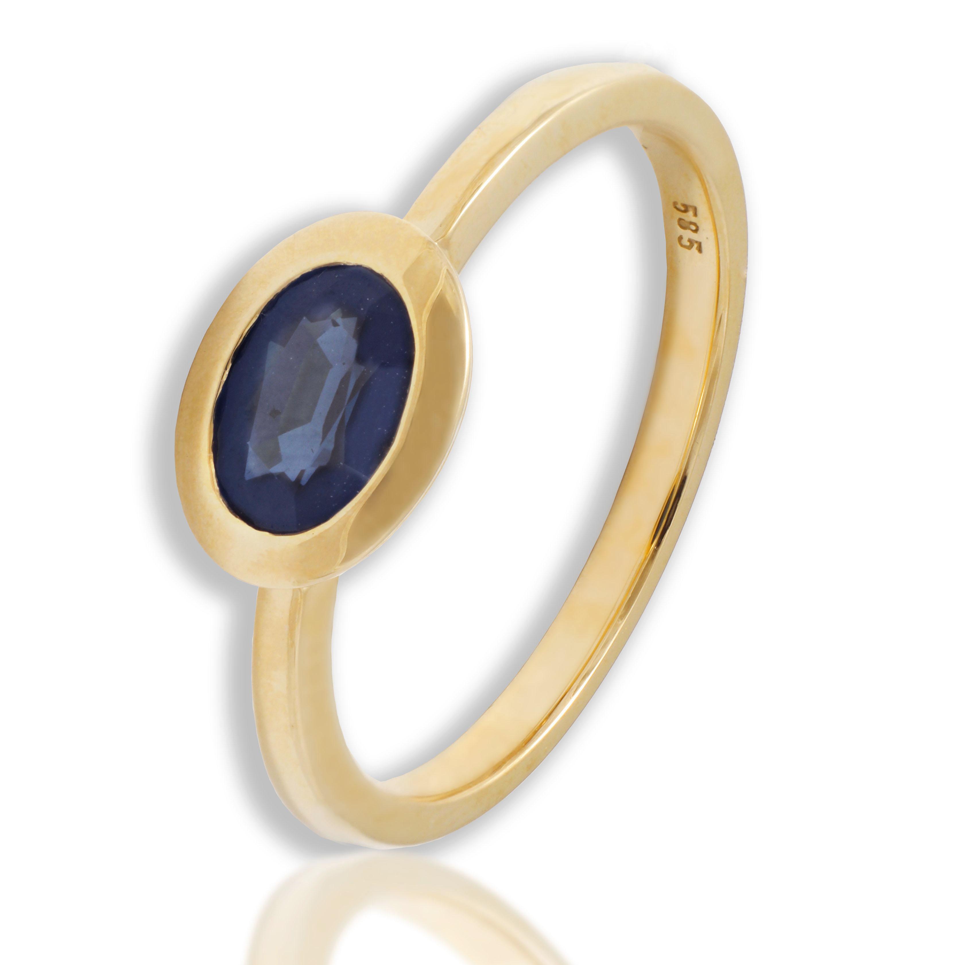 Pierścionek złoty z szafirem naturalnym