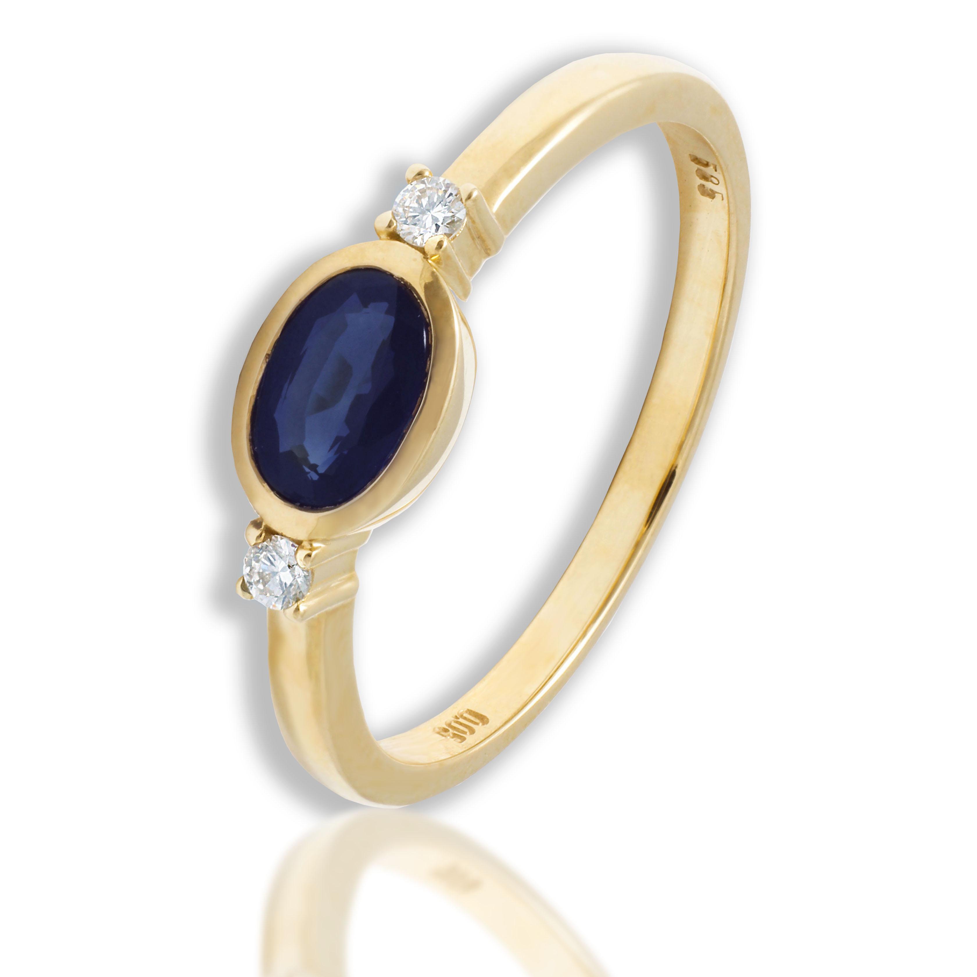 Złoty pierścionek z szafirem naturalnym i brylantami